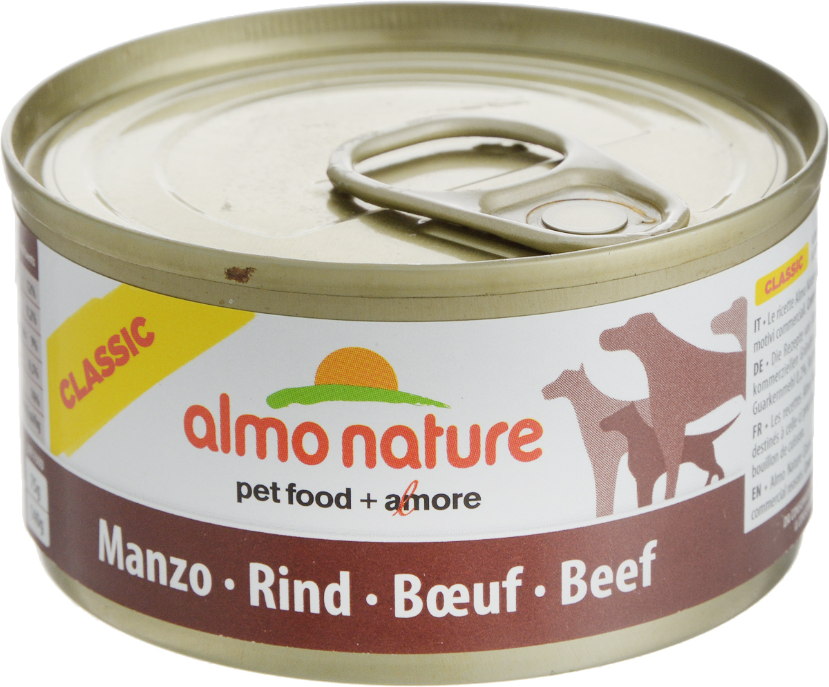 Консервы для кошек Almo Nature Classic, с говядиной, 95 г10185Консервы Almo Nature Classic - это супер-премиум корм для кошек в банке с ключом, которая сохраняет свежесть каждого кусочка. Корм изготовлен только из свежих высококачественных натуральных ингредиентов, что обеспечивает здоровье вашей кошки. Не содержит ГМО, антибиотиков, химических добавок, консервантов и красителей.Состав: вырезка говядины – 50%, рис – 3%, гуаровая камедь – 0,2%, говяжий бульон.Гарантированный анализ: белки – 12%, клетчатка – 0,2%, жиры – 9%, зола – 0,5%, влажность – 76%.Калорийность - 1500 ккал/кг.Товар сертифицирован.Уважаемые клиенты!Обращаем ваше внимание на возможные изменения в дизайне упаковки. Качественные характеристики товара остаются неизменными. Поставка осуществляется в зависимости от наличия на складе.