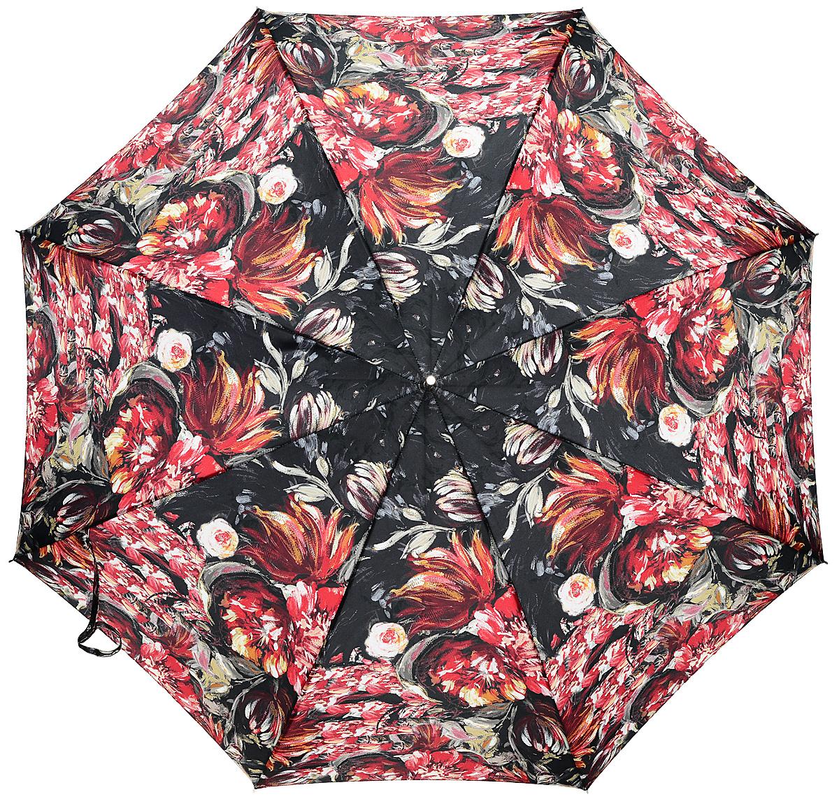 Зонт-трость женский Stilla, цвет: черный, красный, белый. 694/1 auto45100088/18072/1000NЗонт-трость Stilla надежно защитит вас от дождя. Купол, оформленный оригинальным принтом, выполнен из высококачественного ПВХ, который не пропускает воду.Каркас зонта и спицы выполнены из высококарбонистой стали. Зонт имеет автоматический тип сложения: открывается и закрывается при нажатии на кнопку. Удобная ручка выполнена из пластика.