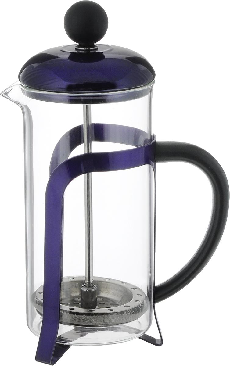 Френч-пресс Guterwahl, цвет: фиолетовый, прозрачный, 350 мл. YM-T21-P/3502с25_белыйФренч-пресс Guterwahl позволит быстро приготовить свежий и ароматный кофе или чай. Френч-пресс снабжен жаропрочной стеклянной колбой и поршнем из нержавеющей стали. Ручка изготовлена из пластика. Фильтр-поршень обеспечивает равномерную циркуляцию воды и насыщенность напитка. С его помощью регулируется степень крепости напитка. Чтобы заварить напиток, снимите крышку с поршнем, насыпьте кофе или чай в колбу, налейте воду и дайте завариться в течение нескольких минут. Установите крышку с поршнем, плавно нажимайте на поршень, чтобы отделить заварку от готового напитка. Не рекомендуется мыть в посудомоечной машине.Диаметр колбы: 7 см.Высота френч-пресса (с учетом крышки): 19,5 см.