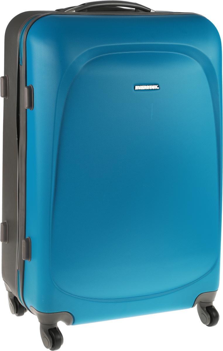 Чемодан Everluck, цвет: бирюзовый, серый, 82 лER/ABS1383 70 cmЧемодан Everluck надежный и практичныйв путешествии.Выполнен из прочного и ударостойкого ABS пластика, материал внутренней отделки - 100% нейлон зеленого цвета. Чемодан содержит продуманную внутреннюю организацию. Имеется одно большое отделение, которое закрывается по периметру на застежку-молнию. Внутри - два больших кармана, один нашивной карман-сетка и маленький нашивной карман. Для легкой и удобной перевозки чемодан оснащен четырьмя колесами, вращающимися на 360 градусов. Телескопическая ручка выдвигается нажатием на кнопку и фиксируется в двух положениях. Сверху и сбоку предусмотрены ручки для поднятия чемодана.Чемодан оснащен кодовым замком TSA, который исключает возможность взлома.Размер чемодана: 70 х 48 х 25 см.Объем чемодана: 82 л.Максимальная длина выдвижной ручки: 35 см.