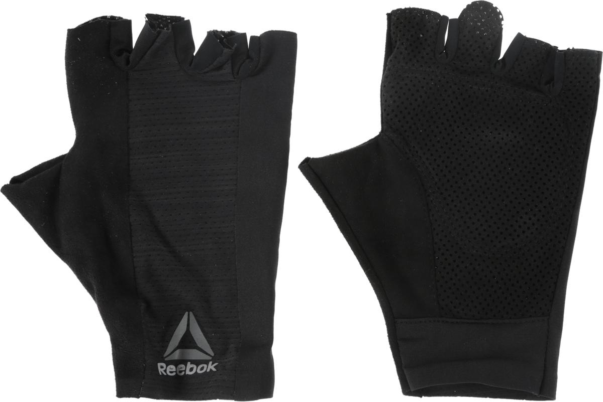 Перчатки для фитнеса Reebok Os U Training Glove, цвет: черный. BK6288. Размер L (22)BK2877Защити свои руки во время самой интенсивной тренировки. Подкладка с внутренней стороны ладони защитит от натирания и обеспечит уверенный хват. А благодаря системе быстрой вентиляции ты будешь ощущать сухость, независимо от нагрузки. Перчатки очень легко снимаются - на кончиках пальцах есть специальные петельки.Материал: 88% нейлон и 12% эластан, сетчатый материал для вентиляции и комфорта.Специальные ярлычки для удобного снимания.Силиконовые вставки на ладонях для амортизации и защиты.Сетчатые вставки для вентиляции и отвода влаги.Вставка из микрофибровой замши для комфорта и удаления влаги.