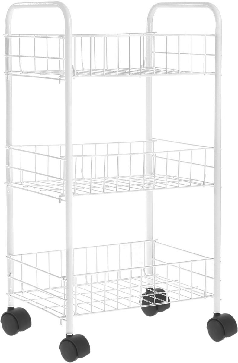Этажерка Доляна, 3-х ярусная, на колесиках, 34 см х 26 см х 69 см10503Изящная 3-х ярусная этажерка Доляна выполнена из металла. Предназначена для хранения различных предметов на кухне или в ванной. На кухне в ней можно хранить овощи и фрукты, в ванной - различные ванные принадлежности. Благодаря колесикам этажерку можно перемещать в любую сторону без особых усилий. Очень удобная и компактная, но в тоже время вместительная, она прекрасно впишется в интерьер любого помещения. Этажерка придется особенно кстати, если у вас небольшая ванная или кухня: она занимает минимум пространства. Легко собирается и разбирается. Размер этажерки (ДхШхВ): 34 см х 26 см х 69 см. Размер корзинки (ДхШхВ): 34 см х 26 см х 9 см.