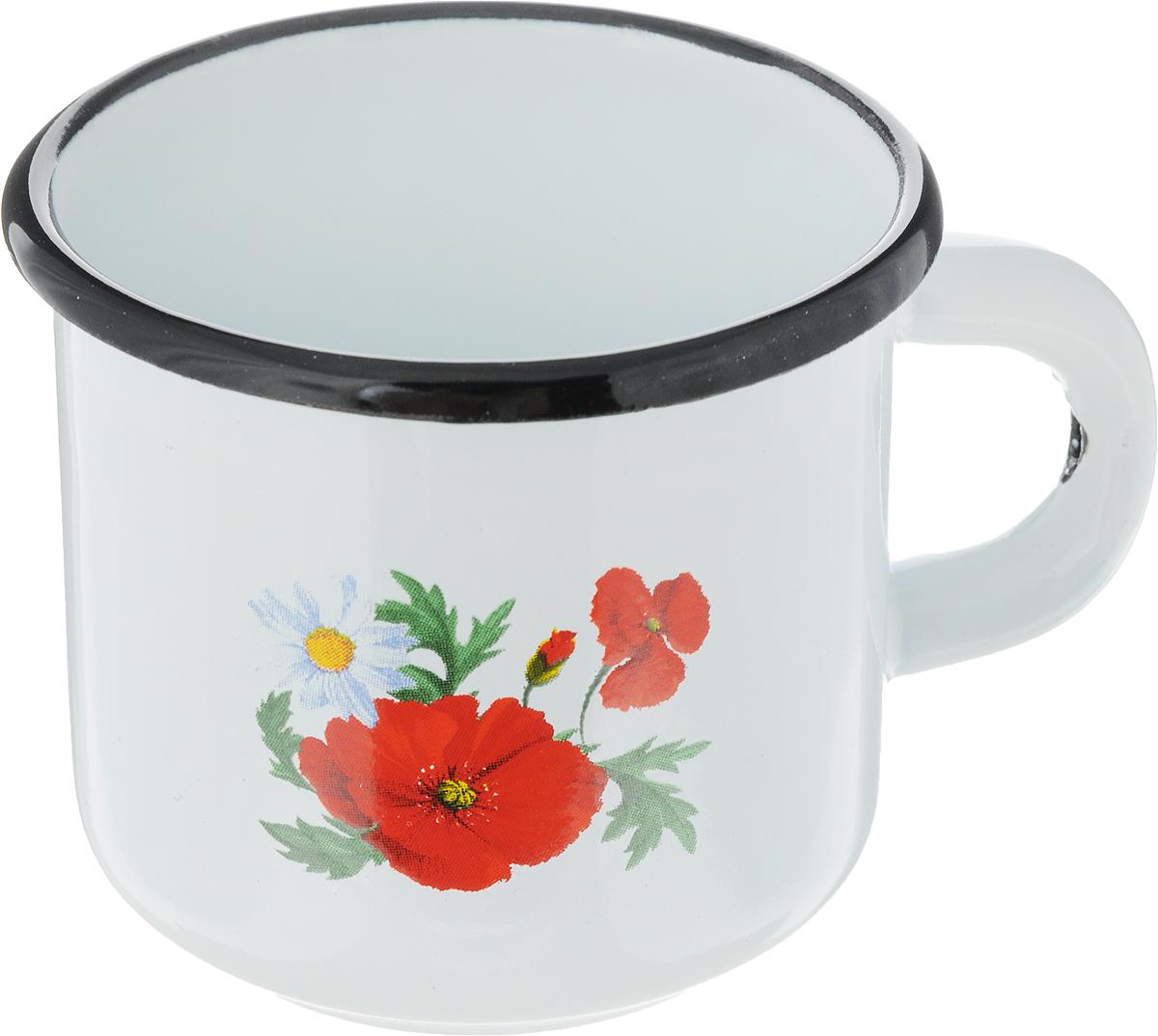 Кружка эмалированная СтальЭмаль Цветок, цвет: белый, красный, 250 мл115510Кружка эмалированная СтальЭмаль Цветок, цвет: белый, красный, 250 мл