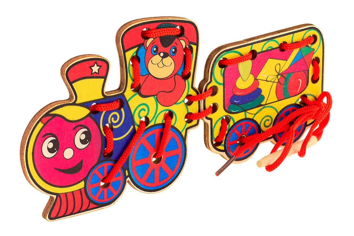 Анданте Игра-шнуровка Паровоз игрушек остатки фанеры купить в минске