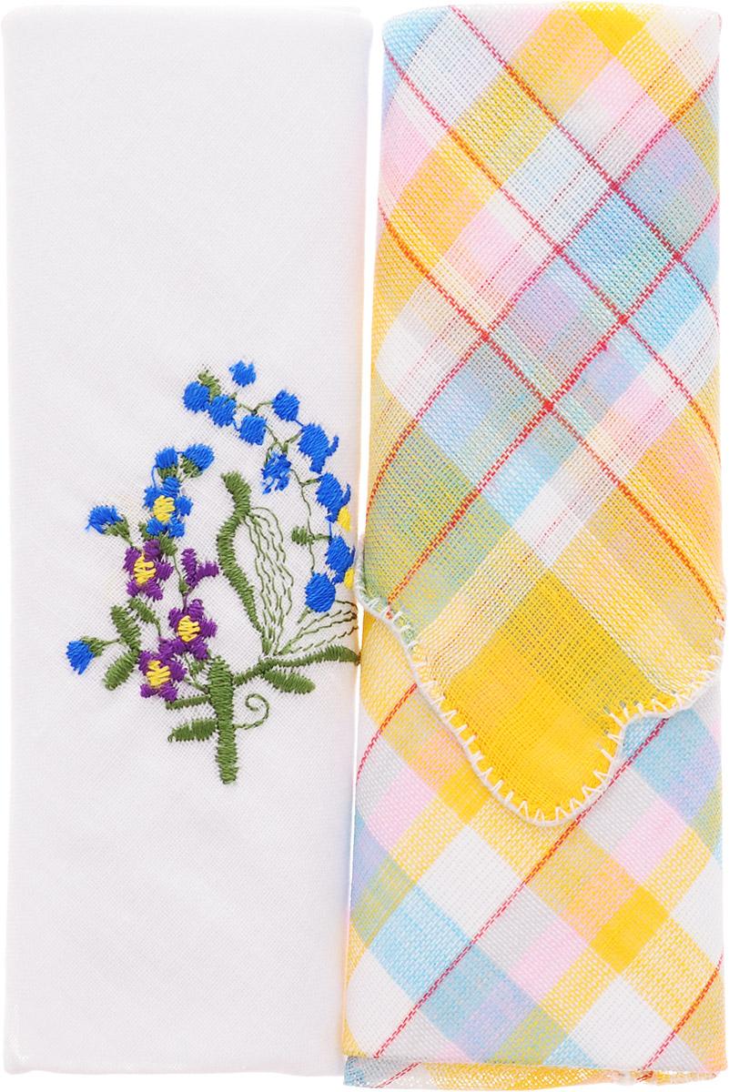 Платок носовой женский Zlata Korunka, цвет: белый, желтый, голубой, 2 шт. 40222-13. Размер 29 см х 29 смСерьги с подвескамиНебольшой женский носовой платок Zlata Korunka изготовлен из высококачественного натурального хлопка, благодаря чему приятен в использовании, хорошо стирается, не садится и отлично впитывает влагу. Практичный и изящный носовой платок будет незаменим в повседневной жизни любого современного человека. Такой платок послужит стильным аксессуаром и подчеркнет ваше превосходное чувство вкуса.В комплекте 2 платка.