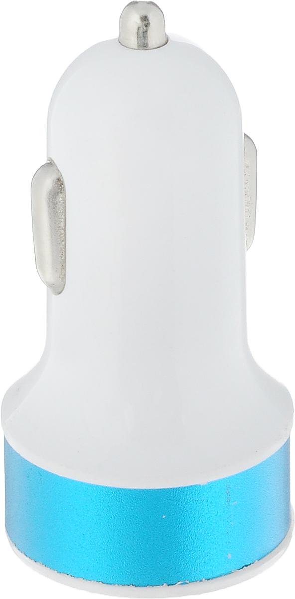 Адаптер автомобильный Главдор, цвет: белый, голубой, 2 x USB, 12В