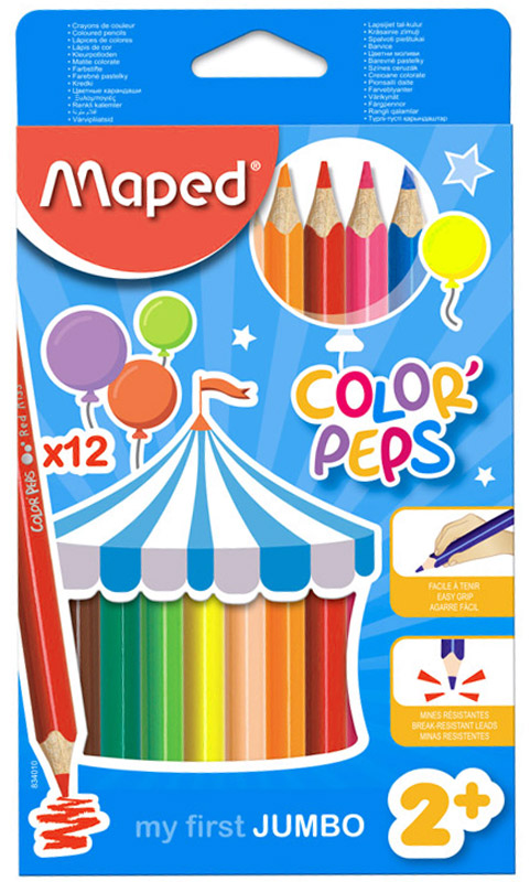 Maped Набор цветных карандашей Color Peps Maxi 12 цветов72523WDВ процессе рисования у малышей развивается наглядно-образное мышление, воображение, мелкая моторика рук, творческие и художественные способности, вырабатывается усидчивость и аккуратность. Набор содержит карандаши 12 ярких насыщенных цветов. Все карандаши предварительно заточены. Цветные карандаши Color Peps Maxi разработаны специально для самых маленьких художников, которые только начинают свой творческий путь. Эргономичный трехгранный корпус из американской липы особенно удобен для маленьких детских ручек. Специальное покрытие и многослойная лакировка уменьшают скольжение, что делает процесс рисования максимально комфортным. Мягкий, ударопрочный грифель не ломается и не крошится при заточке, а его утолщенный диаметр позволяет получать более широкую и насыщенную линию. В процессе рисования у малышей развивается наглядно-образное мышление, воображение, мелкая моторика рук, творческие и художественные способности, вырабатывается усидчивость и аккуратность.Набор содержит карандаши 12 ярких насыщенных цветов. Все карандаши предварительно заточены. Характеристики:Материал: грифель, дерево. Длина карандаша: 17,5 см. Диаметр карандаша: 0,9 см. Размер упаковки:20,5 см х 11,5 см х 1 см. Изготовитель: Китай.Уважаемые клиенты! Обращаем ваше внимание на то, что упаковка может иметь несколько видов дизайна. Поставка осуществляется в зависимости от наличия на складе.