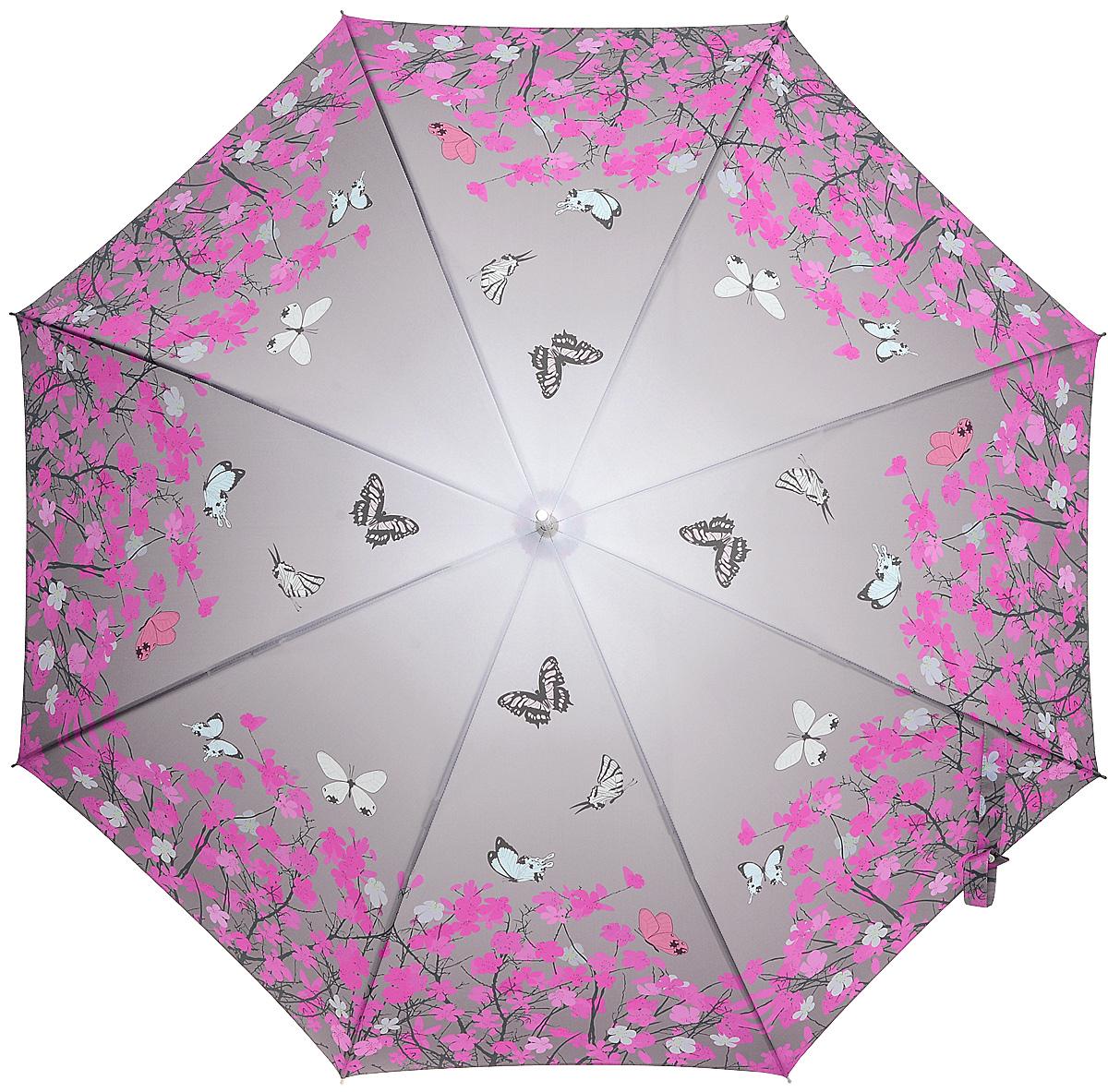 Зонт-трость женский Stilla, цвет: серый, фуксия. 741/2 autoCX1516-50-10Зонт-трость Stilla надежно защитит вас от дождя. Купол, оформленный оригинальным принтом, выполнен из высококачественного ПВХ, который не пропускает воду.Каркас зонта и спицы выполнены из высококарбонистой стали. Зонт имеет автоматический тип сложения: открывается и закрывается при нажатии на кнопку. Удобная ручка выполнена из пластика.