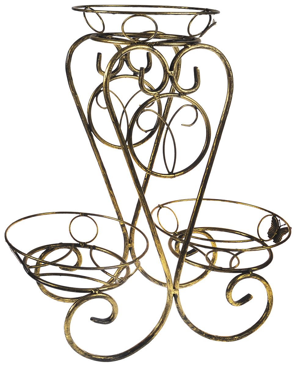 Подставка для цветов Фабрика ковки Лоза, на 3 цветка, цвет: черный, золотойK100Подставка Фабрика ковки Лоза предназначена для размещения трех цветочных кашпо, одно размещается на верхнем уровне, два на нижнем. Подставка выполнена из резного окрашенного металла. Ножки выполнены в виде завитков, на которых расположены подставки, декорированные кольцами.Размер подставки: 51 х 25 х 60 см.Диаметр полок (по верхнему краю): 24,5 см.