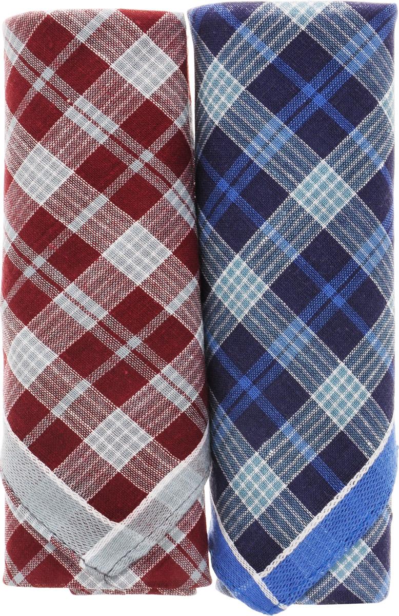 Платок носовой мужской Zlata Korunka, цвет: бордовый, синий, 2 шт. 40214-8. Размер 43 см х 43 смСерьги с подвескамиМужской носовой платой Zlata Korunka изготовлен из натурального хлопка, приятен в использовании, хорошо стирается, материал не садится и отлично впитывает влагу. Оформлена модель контрастным принтом.