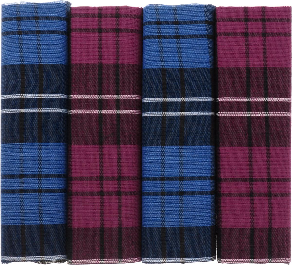 Платок носовой мужской Zlata Korunka, цвет: бордовый, синий, 4 шт. 71419-29. Размер 34 см х 34 смСерьги с подвескамиОригинальный мужской носовой платок Zlata Korunka изготовлен из высококачественного натурального хлопка, благодаря чему приятен в использовании, хорошо стирается, не садится и отлично впитывает влагу. Практичный и изящный носовой платок будет незаменим в повседневной жизни любого современного человека. Такой платок послужит стильным аксессуаром и подчеркнет ваше превосходное чувство вкуса.В комплекте 4 платка.