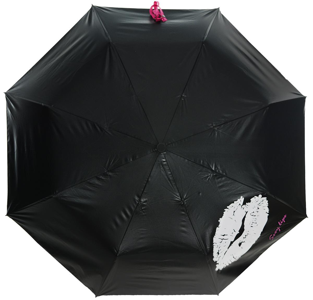Зонт Эврика Губы, цвет: черный, розовый. 97836Серьги с подвескамиОригинальный зонт из непромокаемого водонепроницаемого материала со специальным нанесением (рисунок) , при воздействии влаги рисунок меняет цвет.Красочная подарочная упаковка, размер упаковки 28х7х7 см, материал картон.