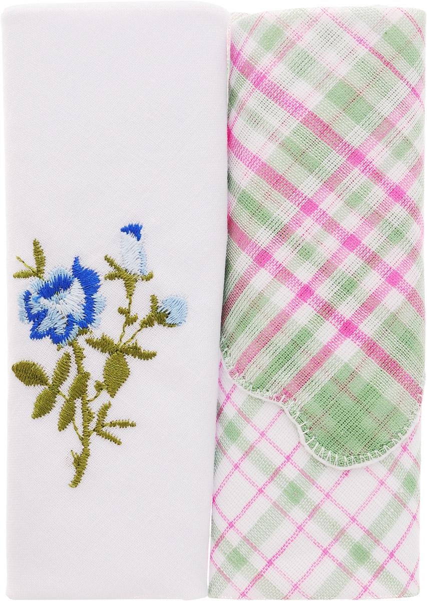 Платок носовой женский Zlata Korunka, цвет: белый, зеленый, розовый, 2 шт. 40222-21. Размер 29 см х 29 смБрошь-булавкаОригинальный женский носовой платок Zlata Korunka изготовлен из высококачественного натурального хлопка, благодаря чему приятен в использовании, хорошо стирается, не садится и отлично впитывает влагу. Практичный и изящный носовой платок будет незаменим в повседневной жизни любого современного человека. Такой платок послужит стильным аксессуаром и подчеркнет ваше превосходное чувство вкуса.