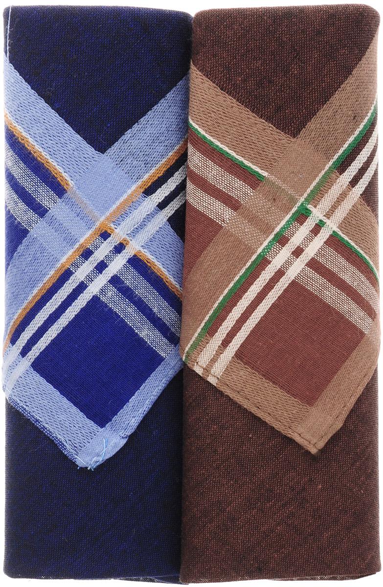 Платок носовой мужской Zlata Korunka, цвет: коричневый, синий, 2 шт. 40213-21. Размер 38 см х 38 смАжурная брошьОригинальный мужской носовой платок Zlata Korunka изготовлен из высококачественного натурального хлопка, благодаря чему приятен в использовании, хорошо стирается, не садится и отлично впитывает влагу. Практичный и изящный носовой платок будет незаменим в повседневной жизни любого современного человека. Такой платок послужит стильным аксессуаром и подчеркнет ваше превосходное чувство вкуса.В комплекте 2 платка.