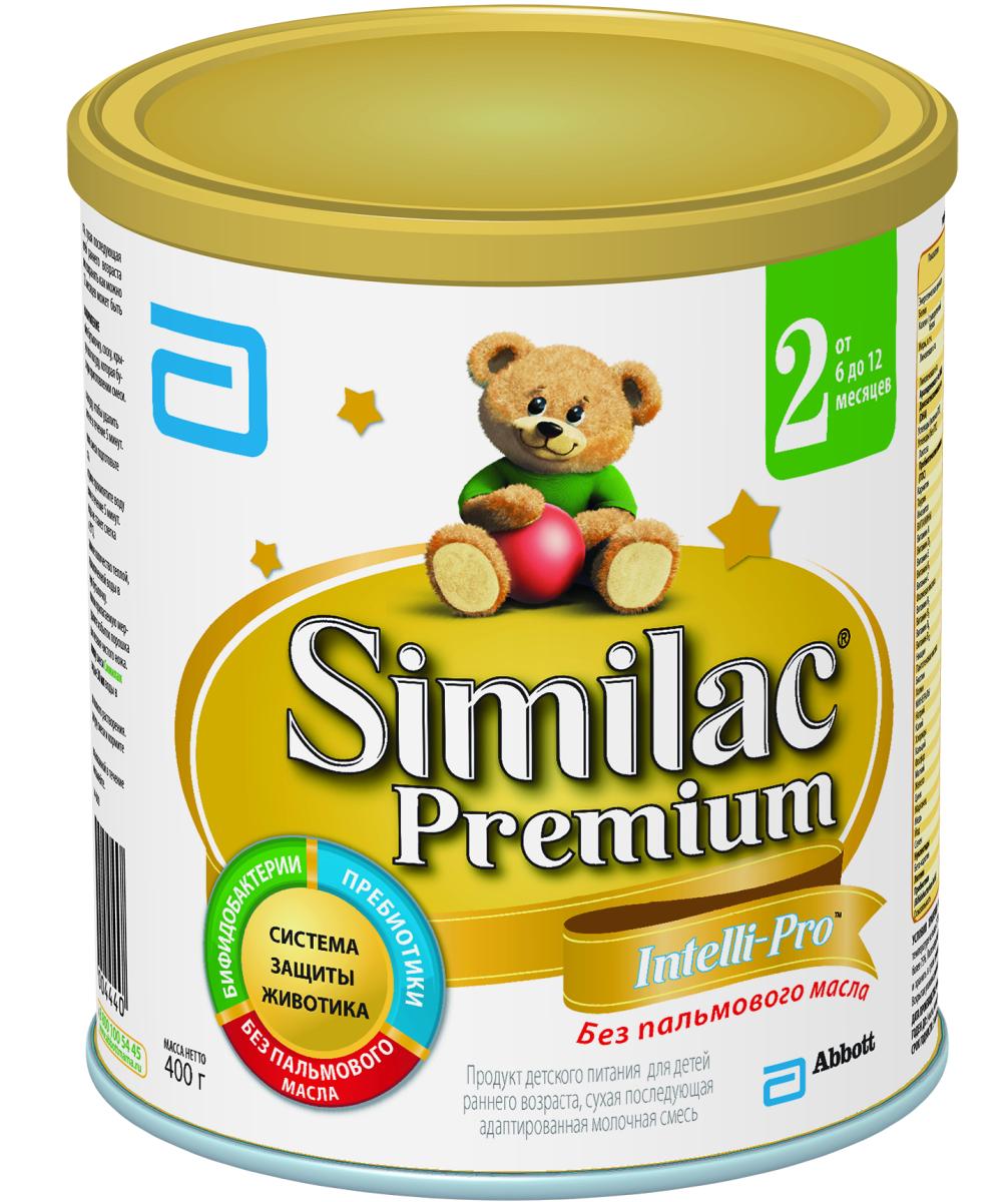 Similak Премиум 2 смесь молочная с 6 месяцев, 400 г8772Адаптированная последующая детская молочная смесь премиум класса без пальмового масла, максимально приближенная по составу к грудному молоку. Уникальный состав с Системой Защиты Животика и Комплексом для развития мозга и зрения. Система защиты животикаБез пальмового маслаСпособствует формированию мягкого стулаПребиотикиПомогают формированию здоровой собственной микрофлоры кишечника и мягкого стулаПробиотикиЖивые бифидобактерии B.lactis (BL) поддерживают здоровую микрофлору кишечника. Развитие головного мозга и зренияУникальный комплекс «IQ Intelli-Pro»Содержит набор важных компонентов для развития мозга и зрения, в т.ч. Омега-3 (DHA) и Омега-6 (ARA) жирные кислоты, а также Лютеин.ЛютеинАнтиоксидант, входящий в состав грудного молока, важный для здоровья глаз. Лютеин не вырабатывается в организме, поэтому малыш может получить его только с питанием. Развитие иммунитетаВсесторонняя поддержка иммунной системы благодаря научно разрaботанномy комплексу веществ:Сочетание пребиотиков и бифидобактерий поддерживает естественные защитные функции организмаНуклеотиды способствуют развитию иммунной системы. Здоровый ростСмесь без пальмового масла способствует лучшему усвоению кальция для формирования крепких костей и здоровых зубовКомплекс витаминов и минералов для здорового роста малыша.