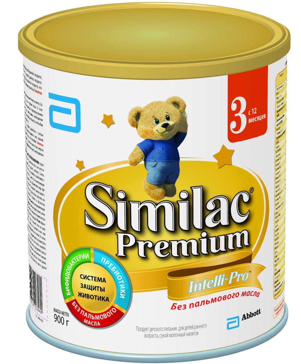Similak Премиум 3 молочко детское с 12 месяцев, 900 г1093Сухой молочный напиток для детей раннего возраста без пальмового масла, максимально приближенный по составу к грудному молоку.Уникальный состав с Системой Защиты Животика и Комплексом для развития мозга и зрения. Система защиты животикаБез пальмового маслаСпособствует формированию мягкого стулаПребиотикиПомогают формированию здоровой собственной микрофлоры кишечника и мягкого стулаПробиотикиЖивые бифидобактерии B.lactis (BL) поддерживают здоровую микрофлору кишечника. Развитие головного мозга и зренияУникальный комплекс «IQ Intelli-Pro»Содержит набор важных компонентов для развития мозга и зрения, в т.ч. Омега-3 (DHA) и Омега-6 (ARA) жирные кислоты, а также Лютеин.ЛютеинАнтиоксидант, входящий в состав грудного молока, важный для здоровья глаз. Лютеин не вырабатывается в организме, поэтому малыш может получить его только с питанием. Развитие иммунитетаВсесторонняя поддержка иммунной системы благодаря научно разработанному комплексу вещeств:Сочетание пребиотиков и бифидобактерий поддерживает естественные защитные функции организмаНуклеотиды способствуют развитию иммунной системы. Здоровый ростСмесь без пальмового масла способствует лучшему усвоению кальция для формирования крепких костей и здоровых зубовКомплекс витаминов и минералов для здорового роста малыша.