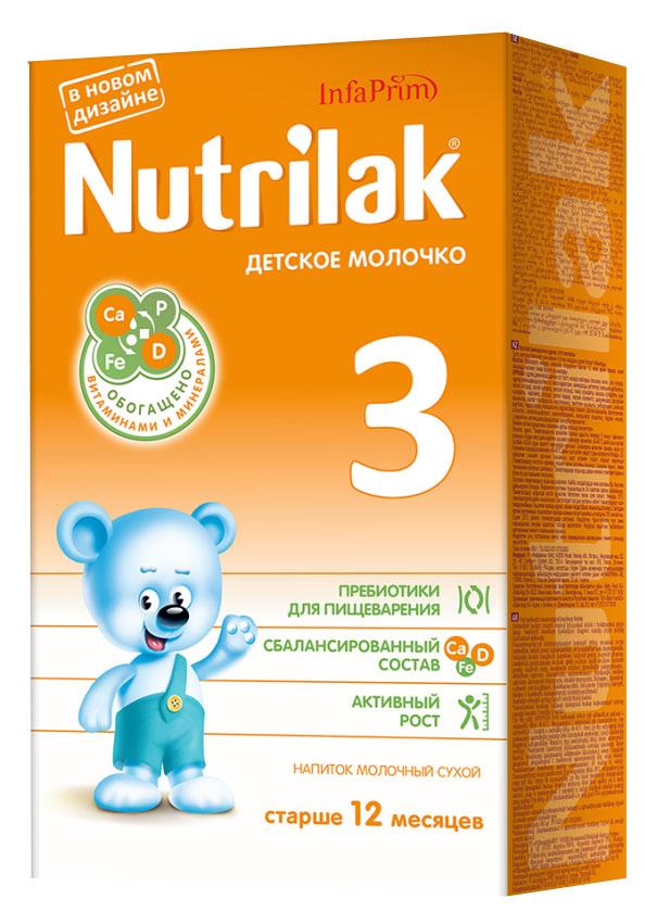 Nutrilak 3 молочко детское с 12 месяцев, 350 г3882Молочная смесь 3 от Нутрилак – это сухой напиток «Детское молочко» для смешанного питания детей старше одного года. ОСОБЕННОСТИ СОСТАВА: высококачественный молочный белок; полиненасыщенные жирные кислоты; витамины, макро- и микроэлементы; кальций и витамин D; железо и цинк; антиоксидантный комплекс. Не содержит ГМО