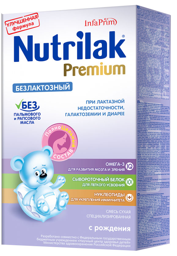 Nutrilak Premium безлактозный смесь с 0 месяцев, 350 г0120710Смесь специализированная сухая безлактозная с ПолноЦельным СОСТАВОМ для диетического лечебного питания детей. ПОКАЗАНИЯ К ПРИМЕНЕНИЮ: лактазная недостаточность; галактоземия; дДиарейный синдром. ОСОБЕННОСТИ СОСТАВА: не содержит лактозу; сывороточный белок. УНИКАЛЬНЫЙ СБАЛАНСИРОВАННЫЙ ЖИРОВОЙ СОСТАВ: без пальмового и рапсового масла; натуральный молочный жир. ВАЖНЫЕ НУТРИЕНТЫ ДЛЯ РАЗВИТИЯ РЕБЕНКА: Омега-3 жирные кислоты (DHA, EPA); нуклеотиды. Смесь разработана совместно с ведущими специалистами «Научного центра здоровья детей» Министерства здравоохранения Российской Федерации. Не содержит сахарозы, ГМО