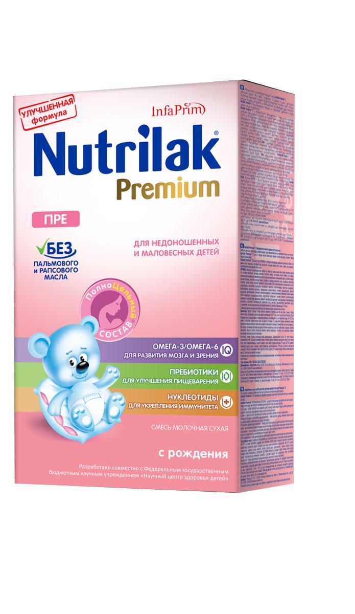 Nutrilak Premium ПРЕ смесь для недоношенных детей с 0 месяцев, 350 г0120710Нутрилак Пре – молочная сухая смесь с ПолноЦельным СОСТАВОМ для смешанного и искусственного вскармливания недоношенных и маловесных детей. ОСОБЕННОСТИ СОСТАВА: повышенное содержание белка с максимальным преобладанием сывороточного белка, жира с наличием среднецепочечных триглицеридов (СЦТ), сниженное содержание лактозы и повышенная калорийность для обеспечения догоняющего роста (по сравнению со стандартными смесями). УНИКАЛЬНЫЙ СБАЛАНСИРОВАННЫЙ ЖИРОВОЙ СОСТАВ: без пальмового и рапсового масла; натуральный молочный жир; среднецепочечные триглицериды (СЦТ). ВАЖНЫЕ НУТРИЕНТЫ ДЛЯ РАЗВИТИЯ РЕБЕНКА: Омега-3/Омега- 6 (DHA/ARA) жирные кислоты; пребиотики; нуклеотиды; витамины, макро- и микроэлементы. Смесь Пре от Нутрилак разработана совместно с ведущими специалистами Научного центра здоровья детей Министерства здравоохранения Российской Федерации. Не содержит ГМО.