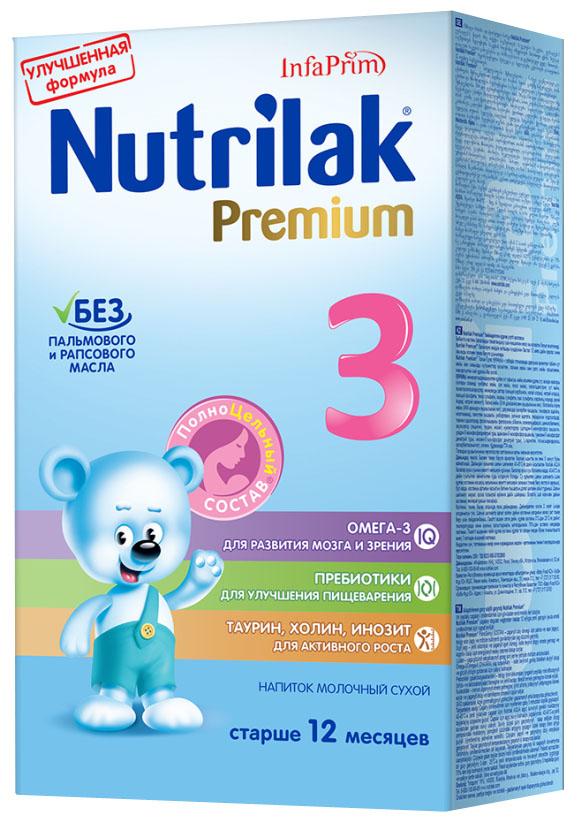 Nutrilak Premium 3 напиток молочный с 12 месяцев, 350 г1093Напиток молочный сухой с ПолноЦельным СОСТАВОМ для дополнительного сбалансированного питания детей. УНИКАЛЬНЫЙ СБАЛАНСИРОВАННЫЙ ЖИРОВОЙ СОСТАВ: без пальмового и рапсового масла; натуральный молочный жир. ВАЖНЫЕ НУТРИЕНТЫ ДЛЯ РАЗВИТИЯ РЕБЕНКА: Омега-3 жирные кислоты (DHA, EPA); пребиотики; витамины, макро- и микроэлементы; таурин, холин, инозит. Нутрилак Премиум содержит биологически важные компоненты, необходимые для роста малыша. Не содержит сахарозы, крахмала, ГМО