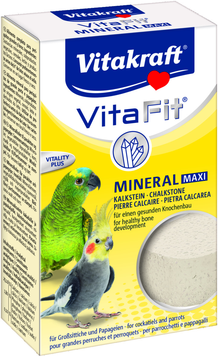 Камень минеральный Vitakraft Mineral Max для попугаев, 150 г10637Минеральный камень Vitakraft Mineral Max подходит для всех видов попугаев и декоративных птиц. Он необходим для нервной системы, укрепления клюва, оптимального пищеварения, формирования костной ткани, образования яичной скорлупы и является источником кальция. Имеет удобный держатель, крепящийся к клетке.Состав: минералы, злаки, молоко и продукты молочного производства.Анализ состава: 29,1% кальций, 3% фосфор, натрий.Размер камня: 8 х 5 х 2,3 см.Уважаемые клиенты! Обращаем ваше внимание на возможные изменения в дизайне упаковки. Качественные характеристики товара остаются неизменными. Поставка осуществляется в зависимости от наличия на складе.