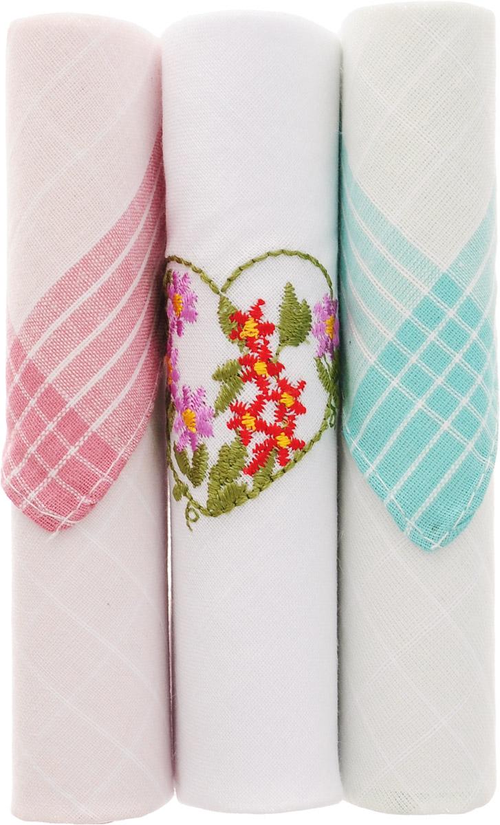 Платок носовой женский Zlata Korunka, цвет: розовый, белый, бирюзовый, 3 шт. 40423-43. Размер 28 см х 28 смСерьги с подвескамиНебольшой женский носовой платок Zlata Korunka изготовлен из высококачественного натурального хлопка, благодаря чему приятен в использовании, хорошо стирается, не садится и отлично впитывает влагу. Практичный и изящный носовой платок будет незаменим в повседневной жизни любого современного человека. Такой платок послужит стильным аксессуаром и подчеркнет ваше превосходное чувство вкуса.В комплекте 3 платка.