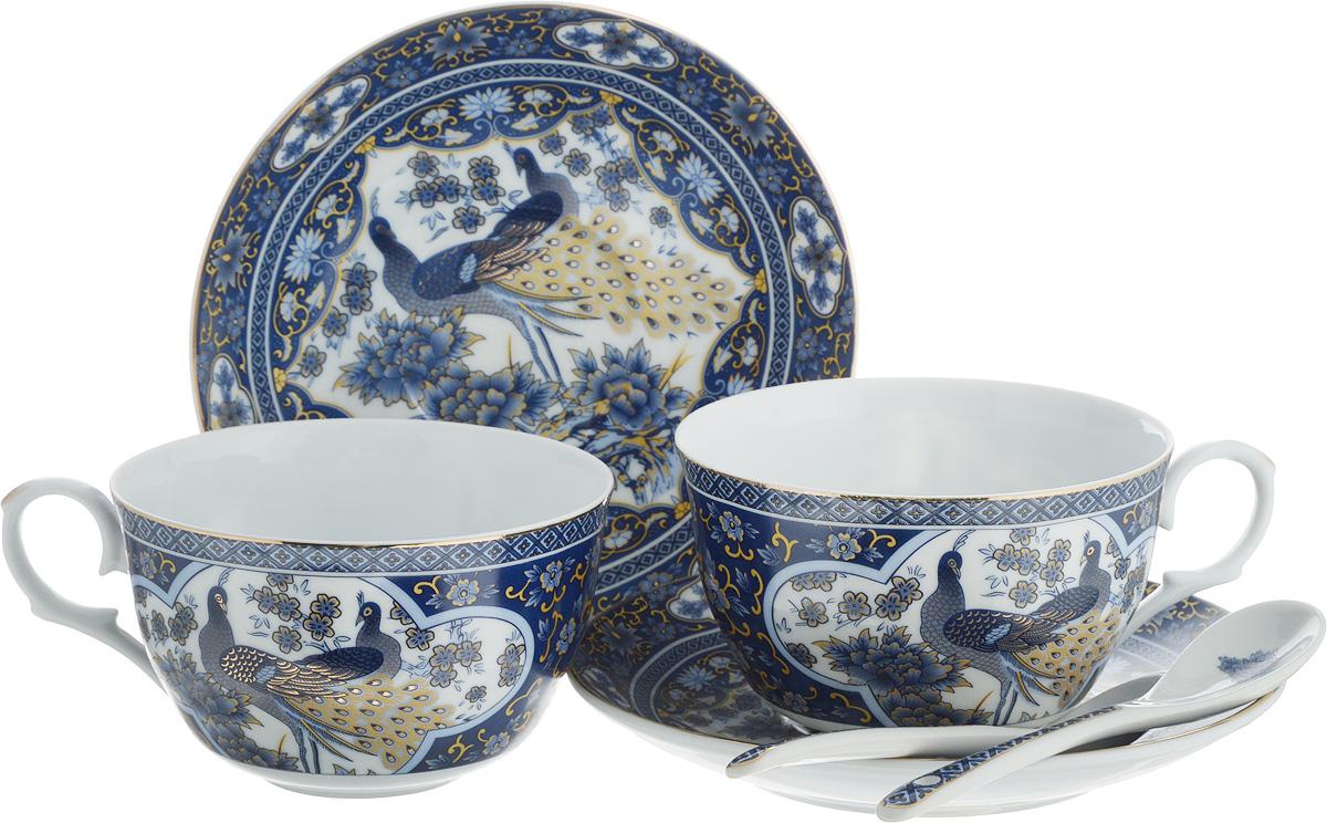 Набор чайный Elan Gallery Павлин синий, с ложками, 6 предметов115610Чайный набор Elan Gallery Павлин синий состоит из 2 чашек, 2 блюдец и 2 ложек. Изделия, выполненные из высококачественной керамики, имеют элегантный дизайн и классическую круглую форму.Такой набор прекрасно подойдет как для повседневного использования, так и для праздников. Чайный набор Elan Gallery Павлин синий - это не только яркий и полезный подарок для родных и близких, а также великолепное дизайнерское решение для вашей кухни или столовой. Не использовать в микроволновой печи.Объем чашки: 250 мл. Диаметр чашки (по верхнему краю): 9,5 см. Высота чашки: 6 см.Диаметр блюдца (по верхнему краю): 14 см.Высота блюдца: 2 см.Длина ложки: 13 см.