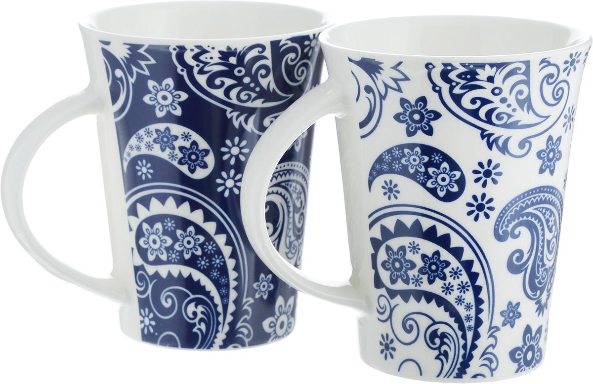Набор кружек Elan Gallery Пейсли, цвет: белый, синий, 320 мл, 2 шт