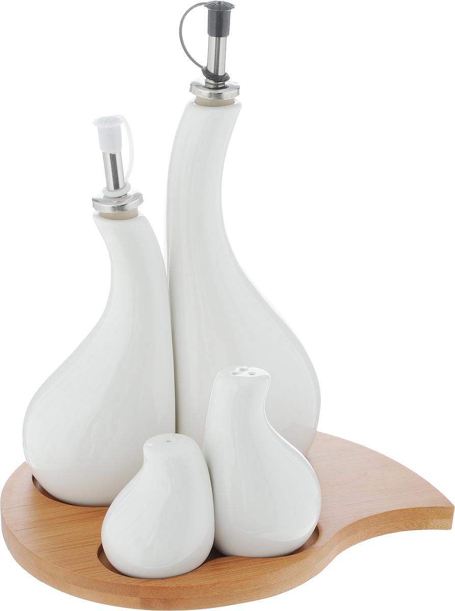 Набор для специй Elan Gallery Айсберг, 5 предметов. 540080FD-59Традиционный набор для специй Elan Gallery Айсберг состоит из 2 емкостей для перцаи соли, 2 емкостей для масла и уксуса, подставки. Изделияизготовлены из высококачественной керамики и выполнены воригинальном дизайне. Перечница и солонка оснащеныотверстиями для высыпания и наполнения специй. Емкостидля масла и уксуса закрываются специальной пробкой, жидкости не выдыхаются и сохраняютпервоначальный вкус. Все предметы помещаются на удобнуюдеревянную подставку. Такой оригинальный набор придется по вкусу даже самымтребовательным хозяйкам и придаст особый шарм иочарование сервируемому столу. Размер подставки (ДхШхВ): 23 см х 16,5 см х 1,2 см. Высота перечницы: 6 см. Высота солонки: 8,5 см. Диаметр основания солонки и перечницы: 4 см.Высота емкостей для масла и уксуса (без учета крышки): 18 см; 14 см. Диаметр основания емкостей для масла и уксуса: 6,7 см.Объем емкостей для масла и уксуса: 200 мл; 300 мл.