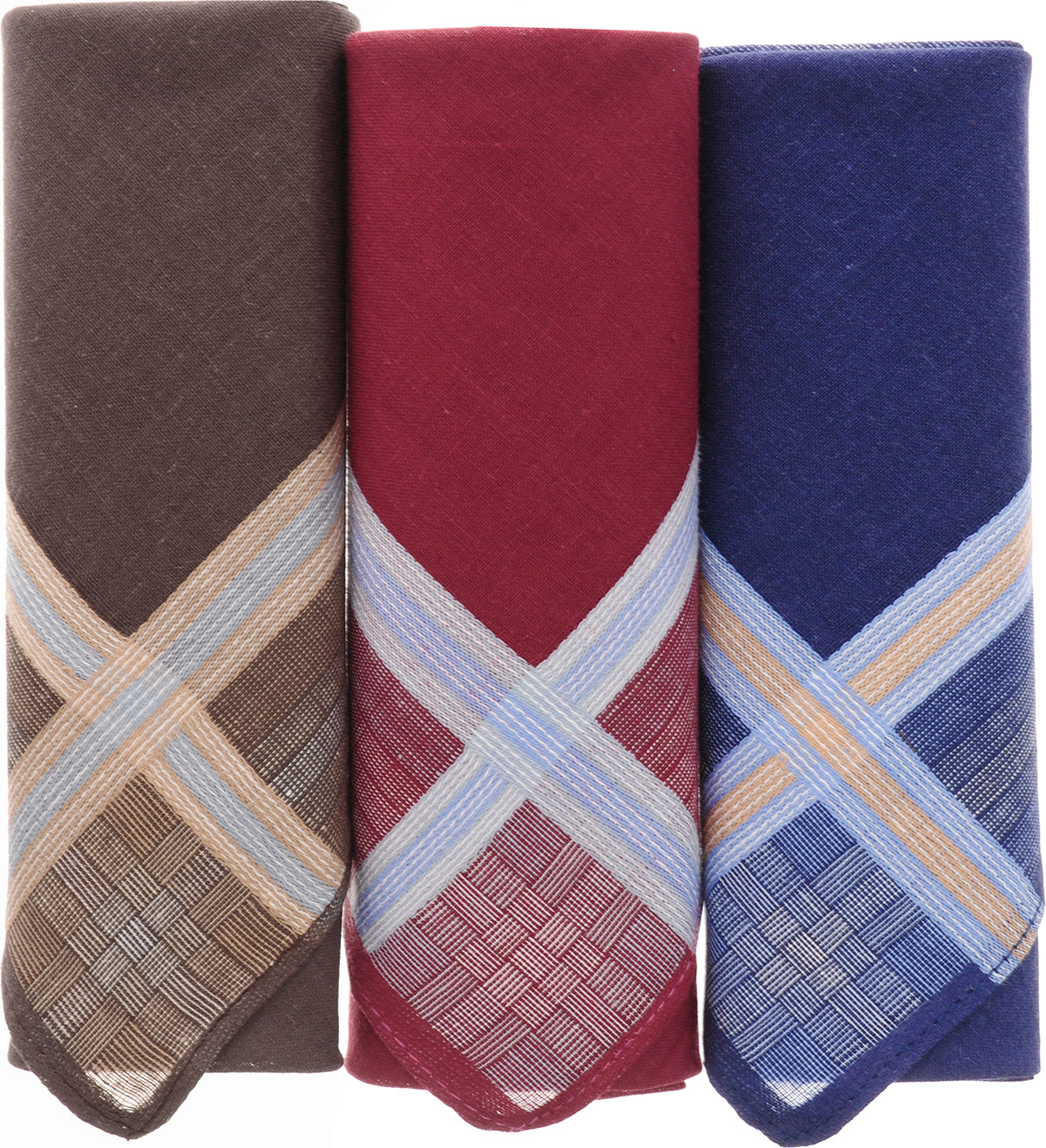 Платок носовой мужской Zlata Korunka, цвет: бордовый, синий, коричневый, 3 шт. 40315-1. Размер 43 см х 43 смСерьги с подвескамиМужской носовой платой Zlata Korunka изготовлен из натурального хлопка, приятен в использовании, хорошо стирается, материал не садится и отлично впитывает влагу. Оформлена модель контрастным принтом.