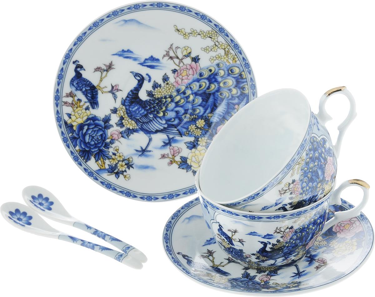 Набор чайный Elan Gallery Павлин, 6 предметов180795Чайный набор Elan Gallery Павлин состоит из двух чашек, двух блюдец и двух ложек, выполненных из высококачественной керамики. Изделия декорированы красивым цветочным рисунком и изображением павлинов. Элегантная чайная пара на 2 персоны в нежных тонах станет памятным подарком. Объем чашки: 250 мл. Диаметр чашки (по верхнему краю): 9,5 см. Высота чашки: 6,2 см. Диаметр блюдца (по верхнему краю): 15,2 см. Высота блюдца: 1,8 см.Общая длина ложки: 12,5 см.Размер рабочей поверхности ложки: 4,5 см х 2,5 см.