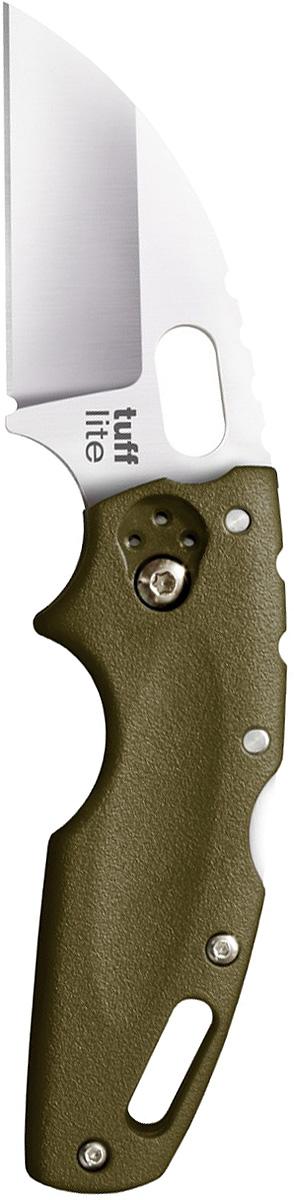 Нож складной Cold Steel Tuff Lite, цвет: зеленый, длина клинка 2 1/2CS/20LTGTuff Lite — складной нож для повседневного ношения. Модель полностью соответствует стандартам изделий из разряда Every Day Carry. Малый вес в сочетании с компактностью, функциональность и привлекательный дизайн — отличительные особенности ножа. К его важным достоинствам следует причислить долговечность и сравнительно невысокую цену.Материал изготовления клинка — устойчивая к коррозии, высококачественная сталь AUS-8A. Согласно шкале Роквелла твердость составляет 56–58 единиц. При этом клинок обладает достаточной гибкостью. Режущая кромка заточена наиболее распространенным способом Plain. Бритвенные свойства сохраняются на протяжении долгого времени и легко восстанавливаются. Допустимо применение различных абразивов и подручных средства.Форма клинка — Wharncliffe blade. «Джентльменский» вариант (прямое лезвие и загнутая линия обушка) отлично подходит для идеально ровного реза, скобления, вырезания. Кроме того, нож выглядит стильно и элегантно. В результате финишной обработки (сатинирование) клинок приобрел матовый оттенок.Ножевой замок — классический, не утративший популярность Back-Lock. Лезвие надежно фиксируется в выбранном положении. На клинке возле рукояти есть подпальцевое отверстие, которое позволяет легко открывать нож как правой, так и левой рукой.Рукоять голубого цвета изготовлена из полимера Grivory — достойного конкурента сплавов (цинковых и алюминиевых). Он не подвержен механическим повреждениям, не впитывает влагу, устойчив к агрессивным средам, к повышенным и пониженным температурам воздуха.Для удобного ношения на поясе или в кармане есть клипса, для страховочного корда — отверстие в задней части рукояти.