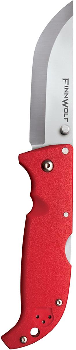 Нож складной Cold Steel Finn Wolf, цвет: красный, длина клинка 3 1/2KOCAc6009LEDГлавная характеристика складного ножа Finn Wolf — универсальность. Удобная в использовании модель пригодится в повседневной жизни и туристических походах. Ей найдется применение на охоте и рыбалке. В угрожающих жизни ситуациях она станет надежным оружием самообороны.Клинок Norman blade, более известный как финский, превосходно режет и строгает, демонстрирует отличные результаты при колющем ударе. За счет скругления длина режущей кромки увеличена, что облегчает разделку охотничьей добычи.Для изготовления клинка использовалась устойчивая к коррозии сталь AUS-8A. Гибкое лезвие обладает внушительной твердостью 57–58 единиц (шкало Роквелла). Отличительная особенность модели состоит в применении шайб из фосфористой бронзы и прокладок из фторопласта в осевом узле.Режущая кромка заточена «гладким» способом. Даже при самой активной эксплуатации лезвие сохраняет остроту на протяжении долгого периода. Если же оно все-таки затупится, заточить нож можно на любом камне благодаря сечению Scandi grind. Сатинирование на этапе финишной обработки сделало клинок матовым.Открывается нож с помощью шпенька правой или левой рукой. Механизм Back-Lock надежно блокирует лезвие в заданном положении.Голубая рукоять сделана из Grivory. Этот полимер устойчив к агрессивным средам и механическим повреждениям. В жару и холод рукоять удобно ложится в руку, не выскальзывает.Нож оснащен клипсой (для ношения на поясе или в кармане) и отверстием в задней части рукояти (под страховочный корд).