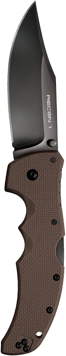 Нож складной Cold Steel Recon 1, цвет: коричневый, длина клинка 4KOC2028LEDСерия тактических складных ножей Recon 1 обладает максимальной прочностью, долговечностью и надёжностью, которую можно вообразить в складном ноже.Лезвие ножа Cold Steel Recon 1— изготовлено из американской стали CTS-XHP и обработано не отражающим покрытием DLC. Рукоять ножа выполнена из высококлассного G-10, а благодаря её форме, нож идеально и прочно сидит в руке.Замок TRI-AD Lock позволяет здесь выдерживать нагрузку в 90кг., давая огромный запас надёжности замку этого ножа. Cold Steel 27TLCC Recon 1 Clip Point — лёгкий, тонкий и невероятно жёсткий. Лезвие ножа в стиле Tanto многим придётся по душе. Нож подходит для использования, как правшам, так и левшам.
