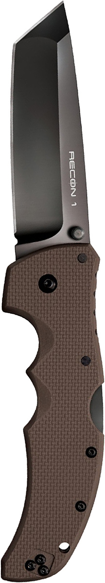 Нож складной Cold Steel Recon 1, цвет: коричневый, длина клинка 4. CS/27TLTVFCS/27TLTVFСерия тактических складных ножей Recon 1 обладает максимальной прочностью, долговечностью и надёжностью, которую можно вообразить в складном ноже.Лезвие ножа Cold Steel Recon 1— изготовлено из американской стали CTS-XHP и обработано не отражающим покрытием DLC. Рукоять ножа выполнена из высококлассного G-10, а благодаря её форме, нож идеально и прочно сидит в руке.Замок TRI-AD Lock позволяет здесь выдерживать нагрузку в 90кг., давая огромный запас надёжности замку этого ножа. Cold Steel 27TLCC Recon 1 Clip Point — лёгкий, тонкий и невероятно жёсткий. Лезвие ножа в стиле Tanto многим придётся по душе. Нож подходит для использования, как правшам, так и левшам.