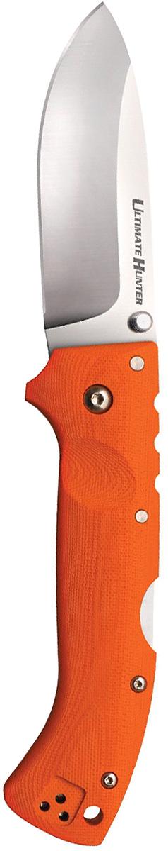 Нож складной Cold Steel Ultimate Hunter, цвет: оранжевый, длина клинка 3 1/2CS/30ULHRYНазвание складного ножа Hunter Ultimate явно указывает на принадлежность к «охотничьей» серии. Однако модель в полной мере соответствует стандартам категории Every Day Carry. Легкое, компактное, внешне привлекательное изделие удовлетворяет самым взыскательным запросам.Широкий клинок сделан из порошковой стали. Сплав премиум-класса гарантирует износостойкость, долговечность, практичность модели. Твердость по шкале Роквелла составляет 60–62 единицы. Сталь отличается непревзойденной устойчивостью к коррозии.Клинок каплевидной формы с пониженной линией обуха отлично режет и колет, идеально подходит для разделки улова и добычи. Универсальность — неоспоримое достоинство этого ножа. Лезвие изначально заточено до бритвенной остроты («гладкий» метод). Поддерживать остроту достаточно легко, благодаря сечению Hollow Grind. Финишная обработка проведена способом сатинирования, в результате которого клинок приобрел матовый оттенок.Нож легко и быстро открывается с помощью шпенька, рассчитанного на использование и правой, и левой рукой. Установка шайб из фосфористой бронзы и прокладок из фторопласта в осевой узел делает ход плавным и исключает люфты. Замок — усовершенствованный Back-Lock — ни при каких обстоятельствах не допустит самопроизвольного складывания.Оранжевая рукоять изготовлена из стеклотекстолита G-10. После обработки она стала чуть шероховатой на ощупь, обеспечивая отличное сцепление и удобный хват. Композитный материал из стеклоткани и эпоксидных смол отличается устойчивостью к агрессивным средам, перепадам температур воздуха, механическим повреждениям. В рукояти имеется отверстие для темляка. Нож оснащен переустанавливаемым зажимом на ношения в кармане или на поясе