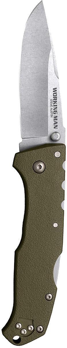 Нож складной Cold Steel Steve Austin Working Man, цвет: болотный, длина клинка 3 1/2CS/54NVGWorking Man — складной нож для повседневного ношения. Модель выпущена на рынок в 2017 году и полностью соответствует современным стандартам. Блестящие рабочие характеристики вкупе с оригинальным дизайном выгодно отличают изделие от аналогов. Прилагательное «рабочий» в названии информирует о том, что нож пригодится в городе и при выездах на природу.Твердость клинка согласно шкале Роквелла составляет 56–58 единиц. Он изготовлен из первоклассной немецкой стали. Продуманное соотношение углерода и хрома гарантирует устойчивость к коррозии, механическую прочность и стойкость режущей кромки. Клинок долго держит изначальную заточку. При интенсивной эксплуатации лезвие сохраняет окраску и привлекательный внешний вид.Нож превосходно режет, рубит, колет. Каплеобразный клинок при финишной обработке Stone wash покрыт сетью миниатюрных царапин. Матовая расцветка удачно маскирует мелкие дефекты, неизбежные при использовании. Благодаря этому же покрытию лезвие стало еще тверже и приобрело антибликовые свойства.Нож открывается одним движением. Двусторонний шпенек обеспечивает комфорт для правшей и левшей. Функция надежной фиксации клинка возложена на усовершенствованный классический замок Back-Lock. Необходимо отметить полное отсутствие люфтов.Рукоять сделана из усиленного углеродным волокном полиамида. Материал устойчив к механическим повреждениям, повышенной влажности, агрессивным средам. Рукоять с шероховатой поверхностью удобно ложится в ладонь, гарантирует надежное сцепление. Упор предохраняет пальцы от соскальзывания на лезвие.