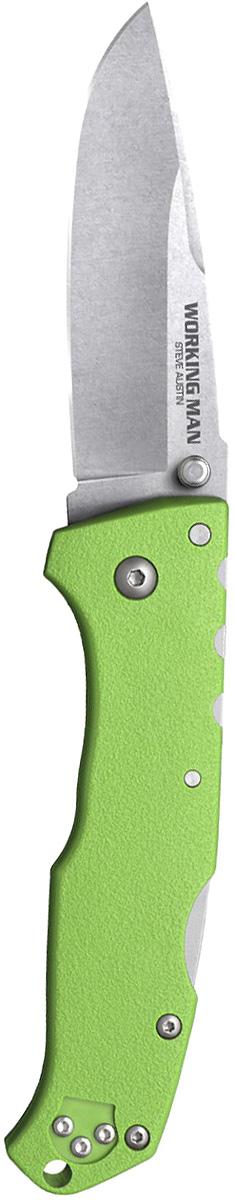 Нож складной Cold Steel Steve Austin Working Man, цвет: зеленый, длина клинка 3 1/2KOC-H19-LEDWorking Man — складной нож для повседневного ношения. Модель выпущена на рынок в 2017 году и полностью соответствует современным стандартам. Блестящие рабочие характеристики вкупе с оригинальным дизайном выгодно отличают изделие от аналогов. Прилагательное «рабочий» в названии информирует о том, что нож пригодится в городе и при выездах на природу.Твердость клинка согласно шкале Роквелла составляет 56–58 единиц. Он изготовлен из первоклассной немецкой стали. Продуманное соотношение углерода и хрома гарантирует устойчивость к коррозии, механическую прочность и стойкость режущей кромки. Клинок долго держит изначальную заточку. При интенсивной эксплуатации лезвие сохраняет окраску и привлекательный внешний вид.Нож превосходно режет, рубит, колет. Каплеобразный клинок при финишной обработке Stone wash покрыт сетью миниатюрных царапин. Матовая расцветка удачно маскирует мелкие дефекты, неизбежные при использовании. Благодаря этому же покрытию лезвие стало еще тверже и приобрело антибликовые свойства.Нож открывается одним движением. Двусторонний шпенек обеспечивает комфорт для правшей и левшей. Функция надежной фиксации клинка возложена на усовершенствованный классический замок Back-Lock. Необходимо отметить полное отсутствие люфтов.Рукоять сделана из усиленного углеродным волокном полиамида. Материал устойчив к механическим повреждениям, повышенной влажности, агрессивным средам. Рукоять с шероховатой поверхностью удобно ложится в ладонь, гарантирует надежное сцепление. Упор предохраняет пальцы от соскальзывания на лезвие.