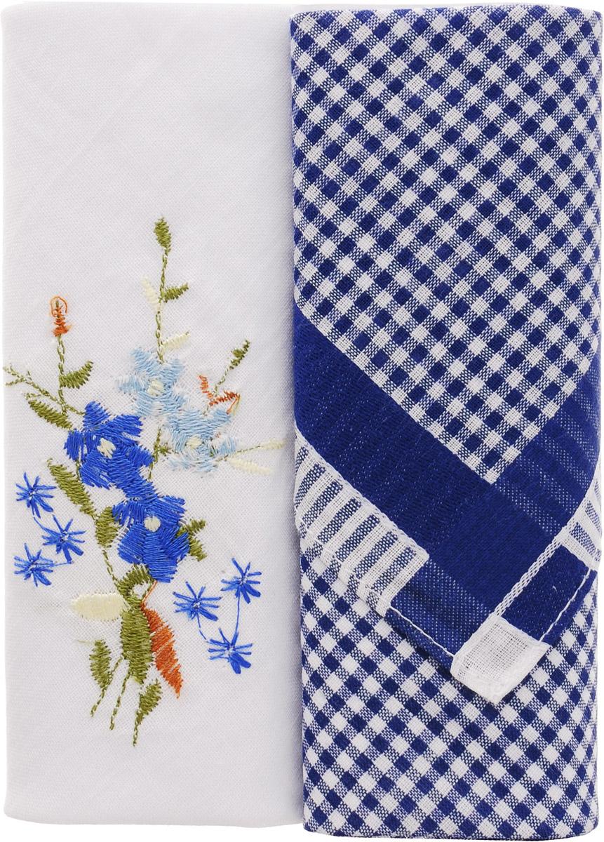 Платок носовой женский Zlata Korunka, цвет: белый, темно-синий, 2 шт. 40222-19. Размер 29 см х 29 смСерьги с подвескамиНебольшой женский носовой платок Zlata Korunka изготовлен из высококачественного натурального хлопка, благодаря чему приятен в использовании, хорошо стирается, не садится и отлично впитывает влагу. Практичный и изящный носовой платок будет незаменим в повседневной жизни любого современного человека. Такой платок послужит стильным аксессуаром и подчеркнет ваше превосходное чувство вкуса.В комплекте 2 платка.