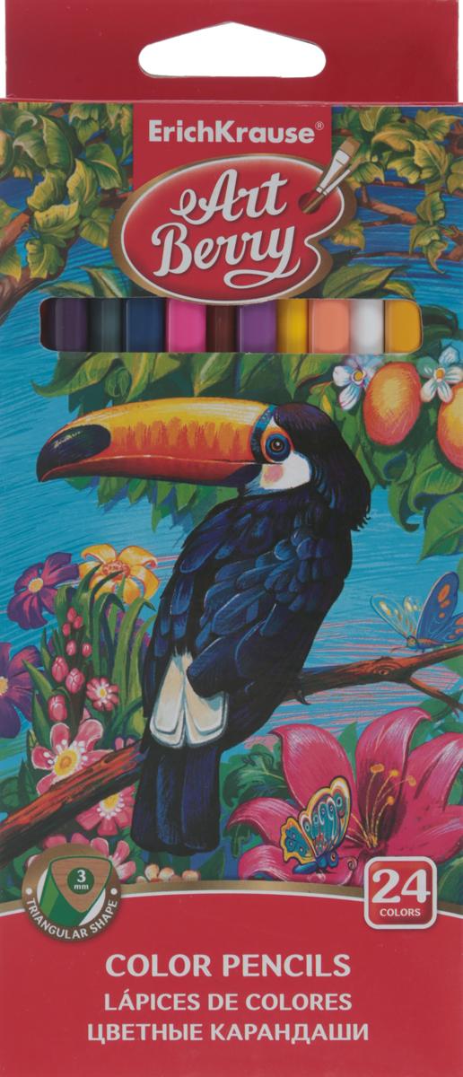 Erich Krause Цветные карандаши, 24 цвета32480Карандаши Erich Krause - идеальный инструмент для самовыражения и развития маленького художника! Необычный трехгранный корпус изготовлен из древесины, гладкость которой обеспечена многослойной покраской. Карандаши обладают яркими насыщенными цветами, а мягкий грифель позволяет штрихам легко ложиться на бумагу. Они уже заточены, поэтому все, что нужно для рисования - это взять чистый лист бумаги, и можно начинать! Карандаши Erich Krause рекомендованы для обучения рисованию детей дошкольного возраста. Толщина грифеля - 5 мм. Эргономичная треугольная форма корпуса карандаша очень удобна для детских пальчиков, при падении не трескаются. Разработаны для маленьких детей - позволяют правильно держать карандаш и рисовать без напряжения. Высококачественные пигменты обеспечивают яркость и мягкость письма. Комплект включает 24 карандаша, упакованных в коробку с ярким рисунком.