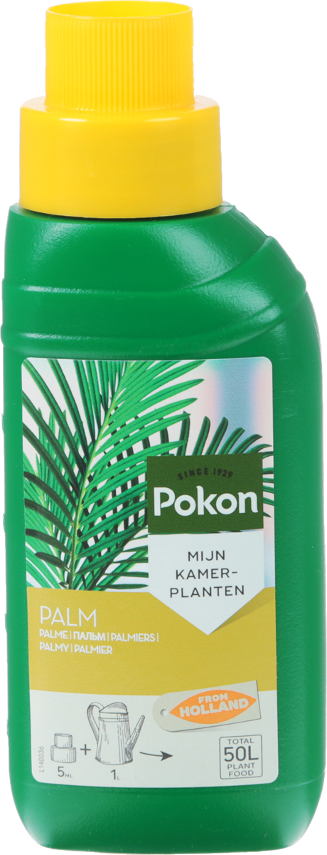Удобрение Pokon, для пальм, 250 млC0038550Удобрение Pokon предназначено для пальм. Для нормального роста и здоровья пальмам нужен хороший уход, который позволяет предотвратить грибковые заболевания. Это сбалансированное удобрение специально разработано для подкормки пальм и обеспечивает растениям красивые зеленые листья. Удобрение специально разработано для пальм и содержит раствор питательных веществ с соотношением NPK 6 + 6 + 5 и с добавкой других микроэлементов.Удобрение соответствует нормам ЕС.Товар сертифицирован. Уважаемые клиенты! Обращаем ваше внимание на возможные изменения в дизайне упаковки. Качественные характеристики товара остаются неизменными. Поставка осуществляется в зависимости от наличия на складе.