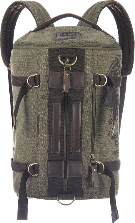 Рюкзак городской мужской Grizzly, цвет: болотный, 18,3 л332515-2800Изделие Grizzly выполнено из глянцевого брезента. Рюкзак-трансформер может использоваться как сумка. Изделиеимеет одно отделение, карман на молнии на передней стенке, боковые стяжки-фиксаторы, внутренний карман на молнии, внутренний укрепленный карман для ноутбука, укрепленную спинку, дополнительную ручку-петлю и укрепленные лямки.