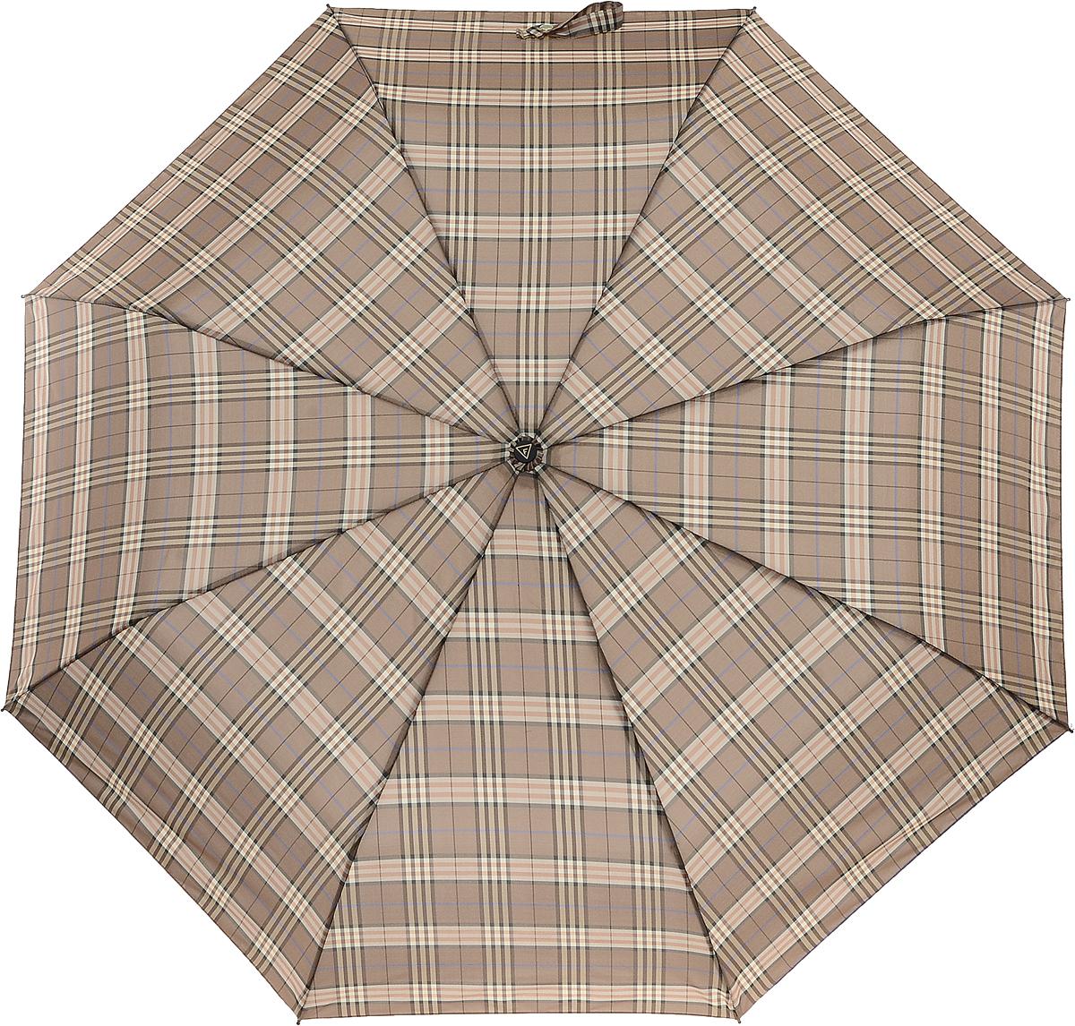 Зонт женский Fabretti, цвет: бежевый. FCH-645102176/33205/7900XКлассический зонт - полный автомат от итальянского бренда Fabretti. Материал купола - эпонж, обладает высокой прочностью и износостойкостью. Вода на куполе из такого материала скатывается каплями вниз, а не впитывается, на нем практически не видны следы изгибов. Эргономичная ручка сделана из высококачественного пластика-полиуретана с противоскользящей обработкой.