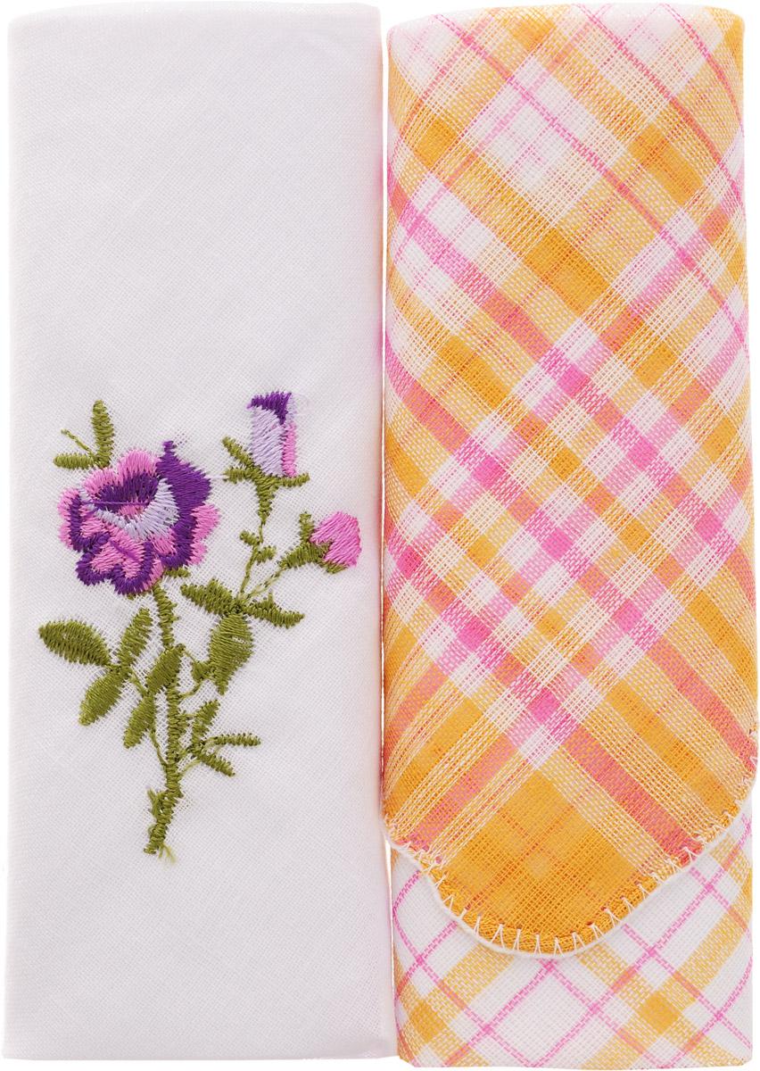 Платок носовой женский Zlata Korunka, цвет: мультиколор, 2 шт. 40222-20. Размер 29 см х 29 смСерьги с подвескамиОригинальный женский носовой платок Zlata Korunka изготовлен из высококачественного натурального хлопка, благодаря чему приятен в использовании, хорошо стирается, не садится и отлично впитывает влагу. Практичный и изящный носовой платок будет незаменим в повседневной жизни любого современного человека. Такой платок послужит стильным аксессуаром и подчеркнет ваше превосходное чувство вкуса.
