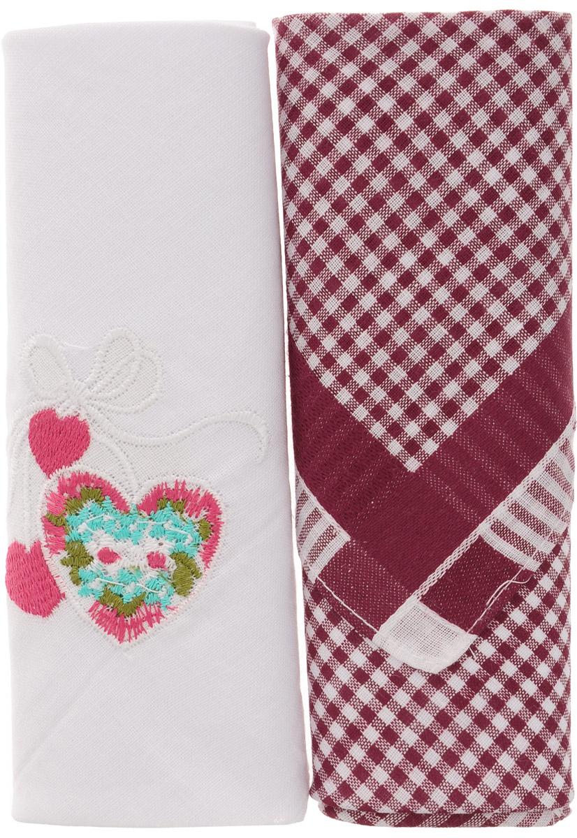 Платок носовой женский Zlata Korunka, цвет: белый, бордовый, 2 шт. 40222-8. Размер 29 см х 29 смСерьги с подвескамиОригинальный женский носовой платок Zlata Korunka изготовлен из высококачественного натурального хлопка, благодаря чему приятен в использовании, хорошо стирается, не садится и отлично впитывает влагу. Практичный и изящный носовой платок будет незаменим в повседневной жизни любого современного человека. Такой платок послужит стильным аксессуаром и подчеркнет ваше превосходное чувство вкуса.