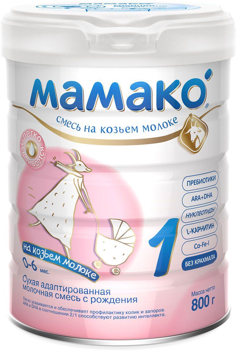 Мамако 1 смесь на основе козьего молока, с 0 до 6 месяцев, 800 гУТ-00000002Мамако 1 - сухая адаптированная молочная смесь для детей с рождения до 6 месяцев легко усваивается и обеспечивает профилактику колик и запоров. Мамако 1 содержит:• Легкоусвояемые белки козьего молока• Пребиотики GOS и FOS• ARA и DHA• L-карнитин• Нуклеотиды• Комплекс Ca-Fe-I• Витамины и минералы.Полезные свойства:• SMART состав смеси Мамако 1 - это сочетание ценных свойств козьего молока и современных функциональных компонентов.• Благодаря особенностям состава козьего молока Мамако 1 легко и комфортно переваривается предупреждает появление колик, запоров и срыгиваний.• Максимальная адаптация белкового состава по аминокислотному профилю способствует легкому усвоению белкового компонента смеси.• Пребиотики GOS/FOS (соотношение 9/1 с доказанной клинической эффективностью) стимулируют развитие собственной здоровой микрофлоры и нормализуют работу кишечника.• Сбалансированный комплекс витаминов и минералов, L-карнитин, нуклеотиды, жирные кислоты ARA и DHA (соотношение 2/1 идентично грудному молоку) обеспечивают оптимальное физическое и психомоторное развитие ребенка.