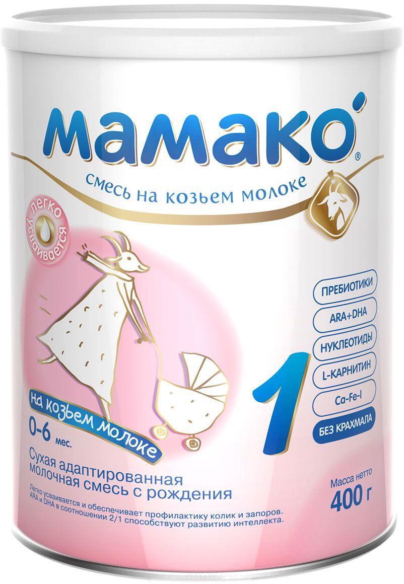 Мамако 1 смесь на основе козьего молока, с 0 до 6 месяцев, 400 г2403Мамако 1 - сухая адаптированная молочная смесь для детей с рождения до 6 месяцев легко усваивается и обеспечивает профилактику колик и запоров. Мамако 1 содержит:• Легкоусвояемые белки козьего молока• Пребиотики GOS и FOS• ARA и DHA• L-карнитин• Нуклеотиды• Комплекс Ca-Fe-I• Витамины и минералы.Полезные свойства:• SMART состав смеси Мамако 1 - это сочетание ценных свойств козьего молока и современных функциональных компонентов.• Благодаря особенностям состава козьего молока Мамако 1 легко и комфортно переваривается предупреждает появление колик, запоров и срыгиваний.• Максимальная адаптация белкового состава по аминокислотному профилю способствует легкому усвоению белкового компонента смеси.• Пребиотики GOS/FOS (соотношение 9/1 с доказанной клинической эффективностью) стимулируют развитие собственной здоровой микрофлоры и нормализуют работу кишечника.• Сбалансированный комплекс витаминов и минералов, L-карнитин, нуклеотиды, жирные кислоты ARA и DHA (соотношение 2/1 идентично грудному молоку) обеспечивают оптимальное физическое и психомоторное развитие ребенка.