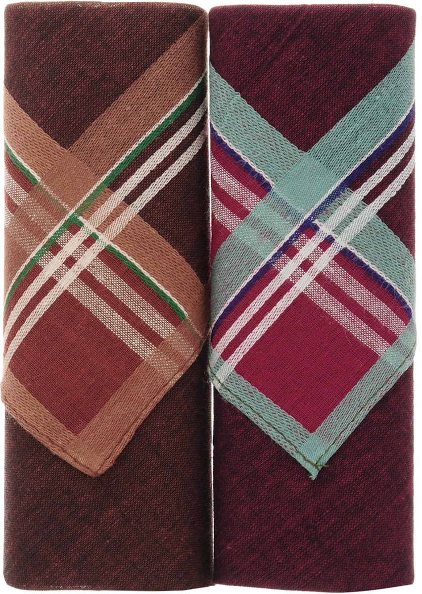 Платок носовой мужской Zlata Korunka, цвет: бордовый, коричневый, 2 шт. 40213-19. Размер 38 см х 38 смСерьги с подвескамиОригинальный мужской носовой платок Zlata Korunka изготовлен из высококачественного натурального хлопка, благодаря чему приятен в использовании, хорошо стирается, не садится и отлично впитывает влагу. Практичный и изящный носовой платок будет незаменим в повседневной жизни любого современного человека. Такой платок послужит стильным аксессуаром и подчеркнет ваше превосходное чувство вкуса.В комплекте 2 платка.