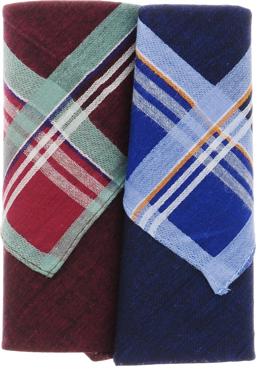 Платок носовой мужской Zlata Korunka, цвет: темно-синий, бордовый, 2 шт. 40213-20. Размер 38 см х 38 смГлидерный браслетОригинальный мужской носовой платок Zlata Korunka изготовлен из высококачественного натурального хлопка, благодаря чему приятен в использовании, хорошо стирается, не садится и отлично впитывает влагу. Практичный и изящный носовой платок будет незаменим в повседневной жизни любого современного человека. Такой платок послужит стильным аксессуаром и подчеркнет ваше превосходное чувство вкуса.В комплекте 2 платка.