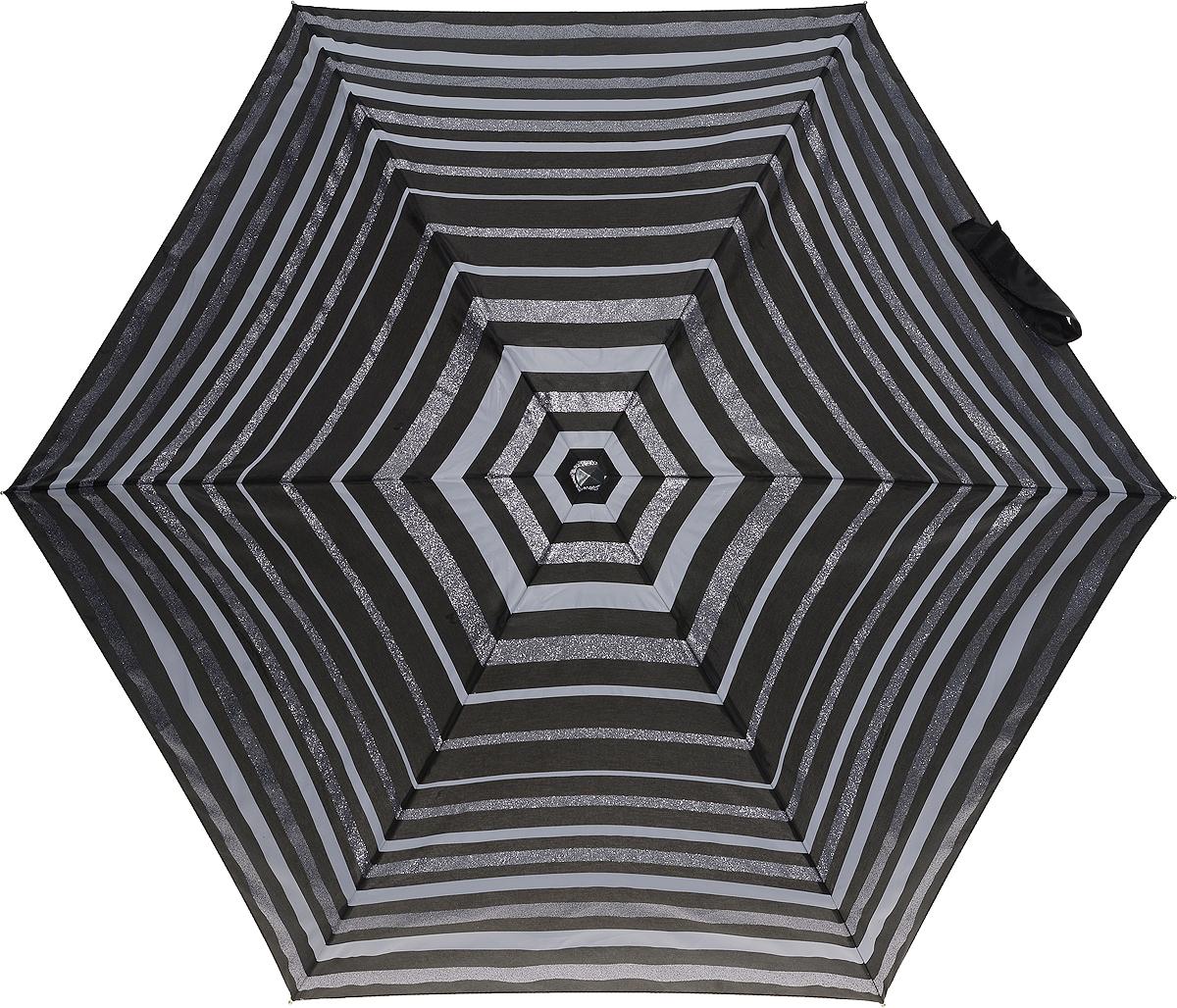 Зонт женский Fulton, механический, 5 сложений, цвет: черный, серый. L501-3273Пуссеты (гвоздики)Стильный механический зонт Fulton имеет 5 сложений, даже в ненастную погоду позволит вам оставаться стильной. Легкий, но в тоже время прочный алюминиевый каркас состоит из шести спиц с элементами из фибергласса. Купол зонта выполнен из прочного полиэстера с водоотталкивающей пропиткой. Рукоятка закругленной формы, разработанная с учетом требований эргономики, выполнена из каучука. Зонт имеет механический способ сложения: и купол, и стержень открываются и закрываются вручную до характерного щелчка.